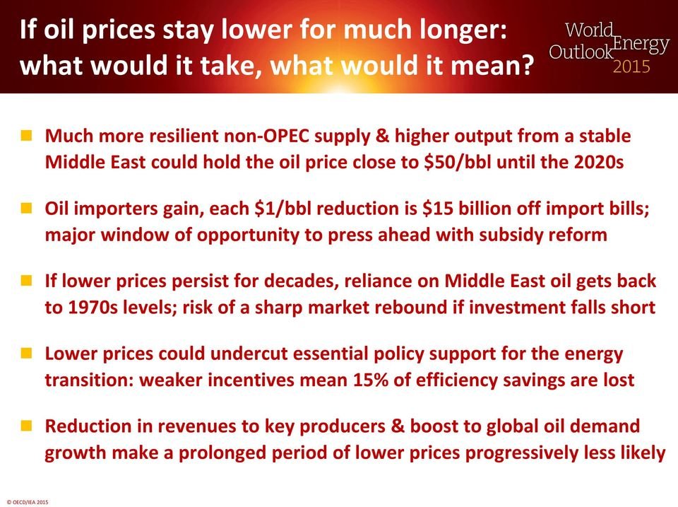 off import bills; major window of opportunity to press ahead with subsidy reform If lower prices persist for decades, reliance on Middle East oil gets back to 1970s levels; risk of a sharp market