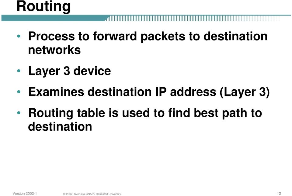Examines destination IP address (Layer 3)