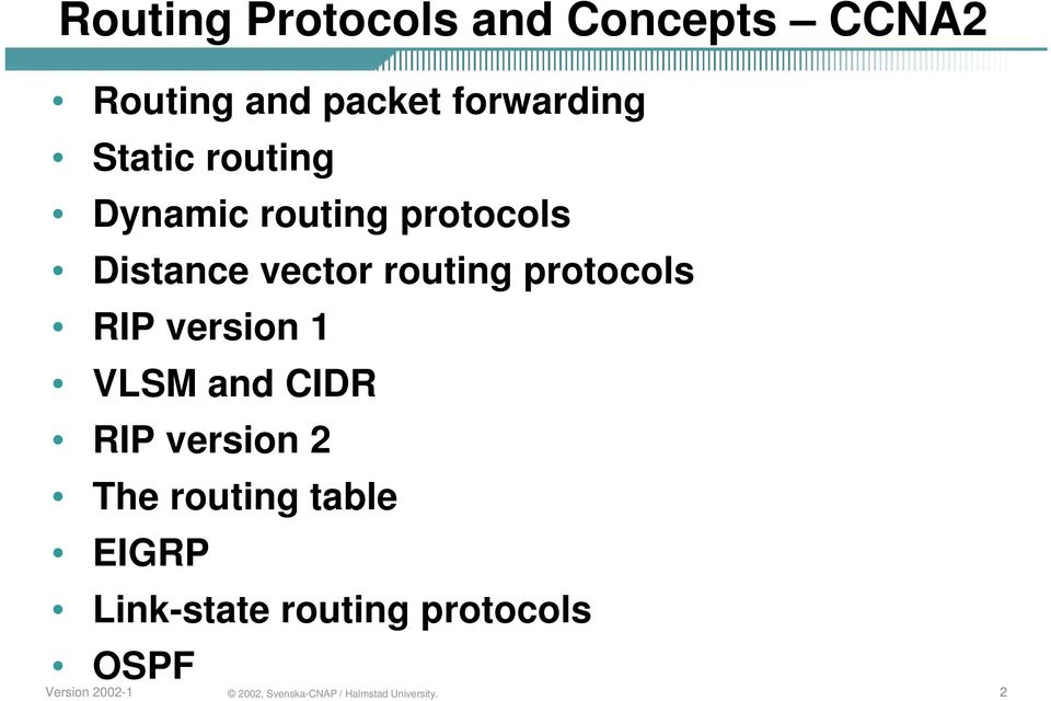 vector routing protocols RIP version 1 VLSM and CIDR RIP