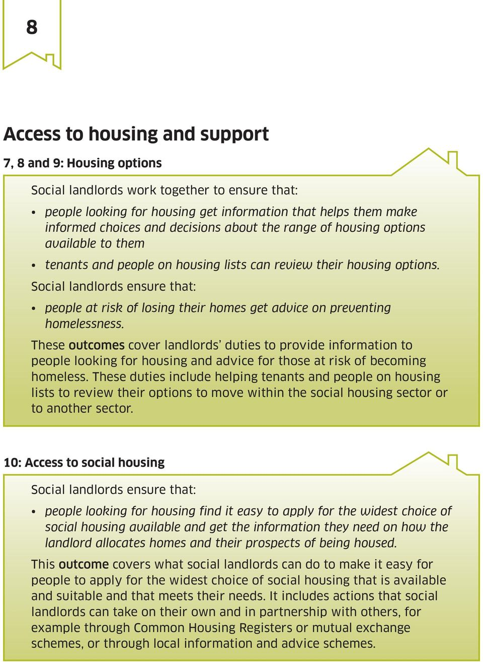 Social landlords ensure that: people at risk of losing their homes get advice on preventing homelessness.