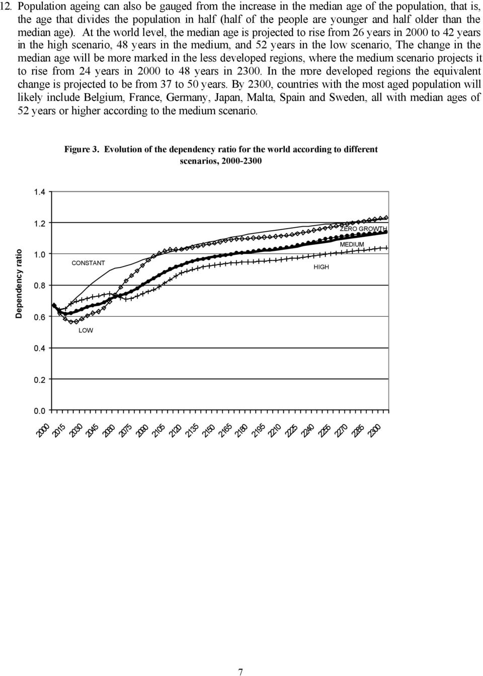 At the world level, the median age is projected to rise from 26 years in 2000 to 42 years in the high scenario, 48 years in the medium, and 52 years in the low scenario, The change in the median age