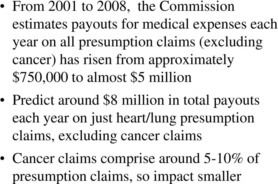 million Predict around $8 million in total payouts each year on just heart/lung presumption
