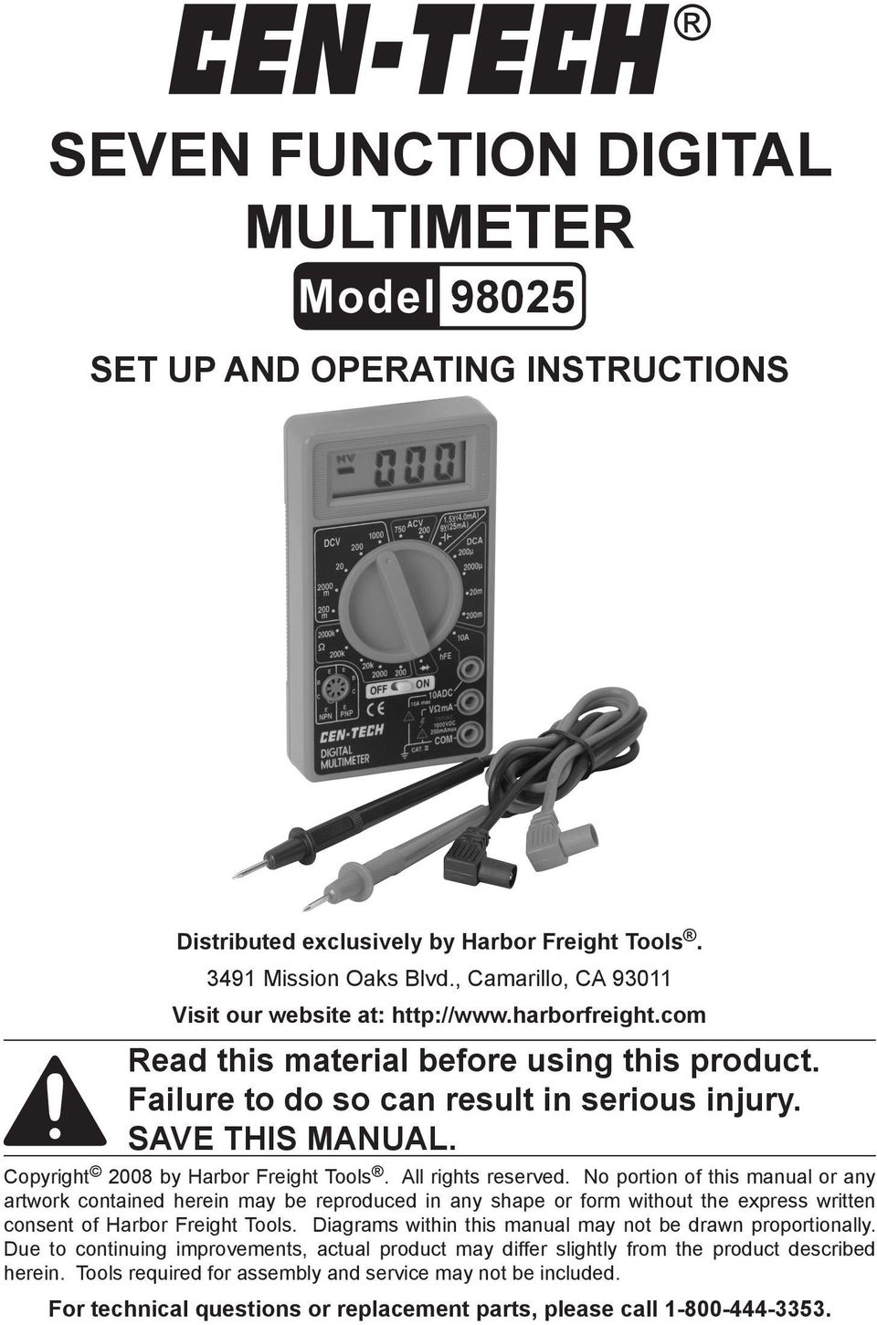 Copyright 2008 by Harbor Freight Tools. All rights reserved.