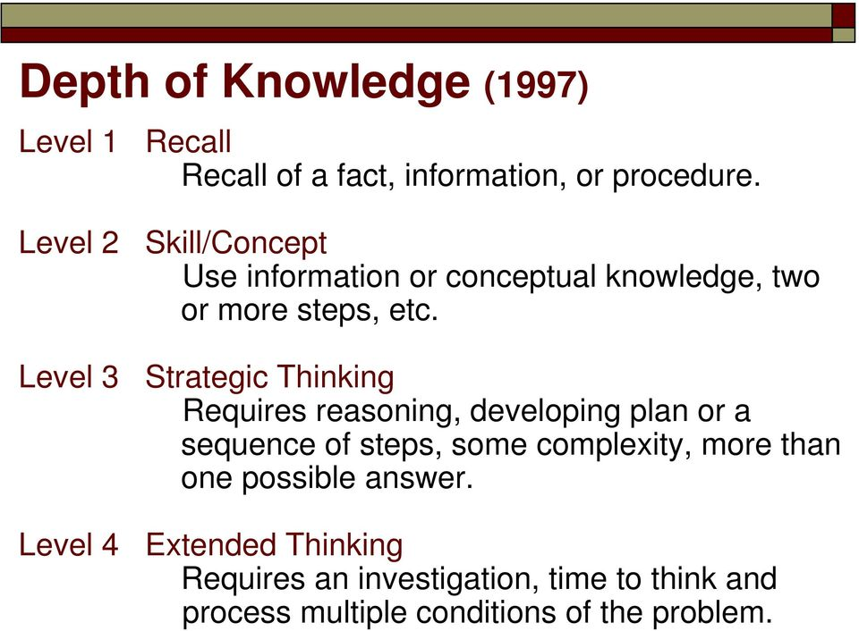 Level 3 Strategic Thinking Requires reasoning, developing plan or a sequence of steps, some complexity,