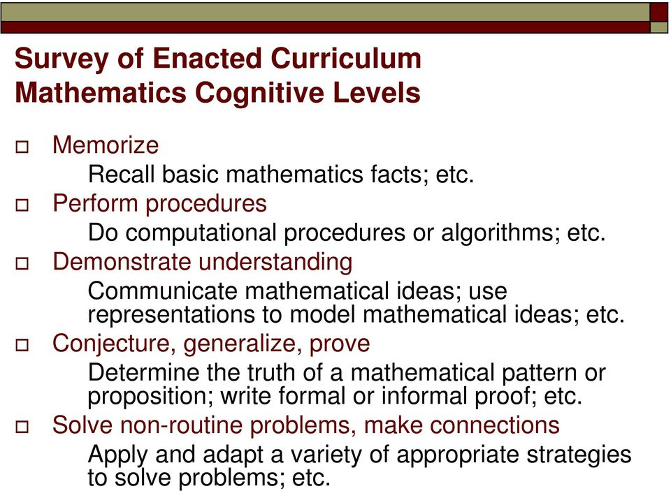 Demonstrate understanding Communicate mathematical ideas; use representations to model mathematical ideas; etc.