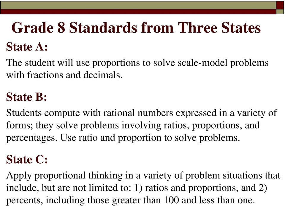 State B: Students compute with rational numbers expressed in a variety of forms; they solve problems involving ratios, proportions,