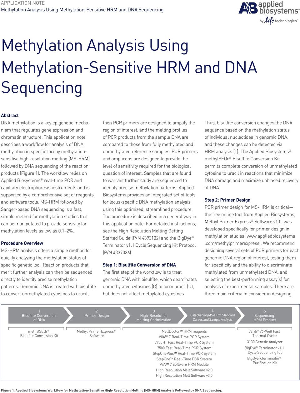 This application note describes a workflow for analysis of DNA methylation in specific loci by methylationsensitive high-resolution melting (MS-HRM) followed by DNA sequencing of the reaction