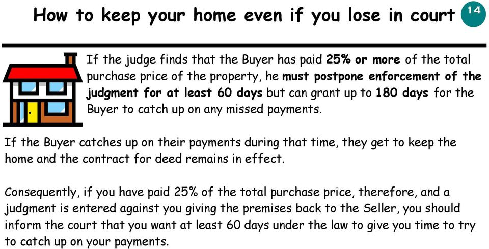 If the Buyer catches up on their payments during that time, they get to keep the home and the contract for deed remains in effect.