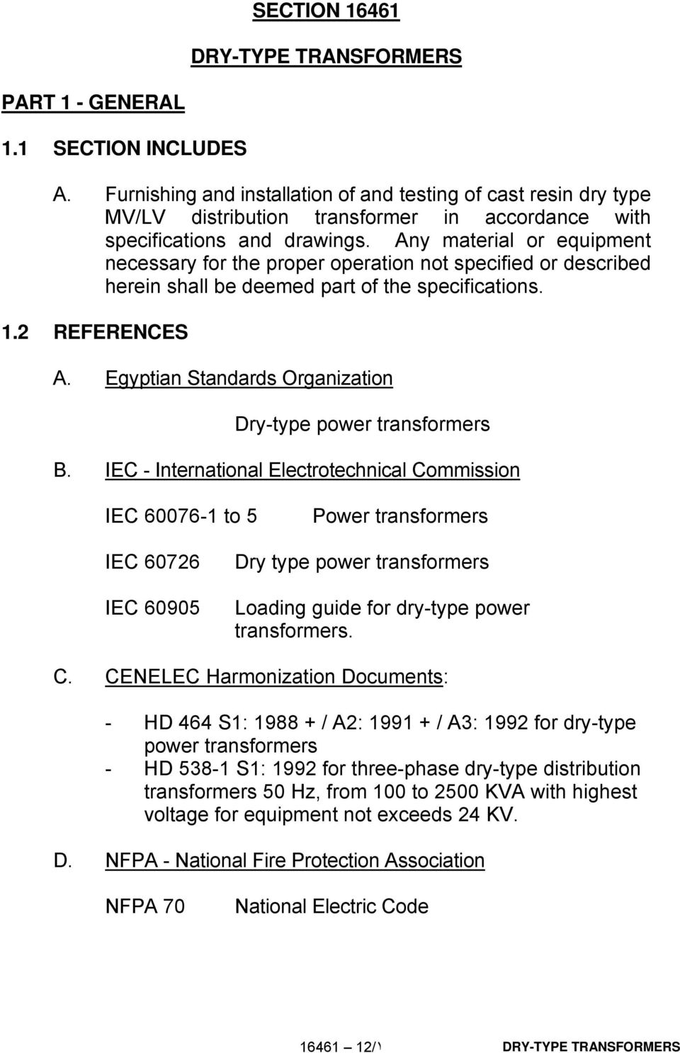 Egyptian Standards Organization Dry-type power transformers B.