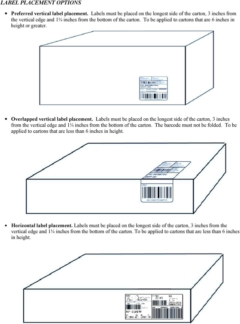 To be applied to cartons that are 6 inches in height or greater. Overlapped vertical label placement.  The barcode must not be folded.