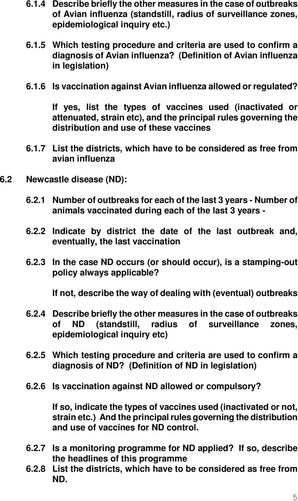 If yes, list the types of vaccines used (inactivated or attenuated, strain etc), and the principal rules governing the distribution and use of these vaccines 6.1.