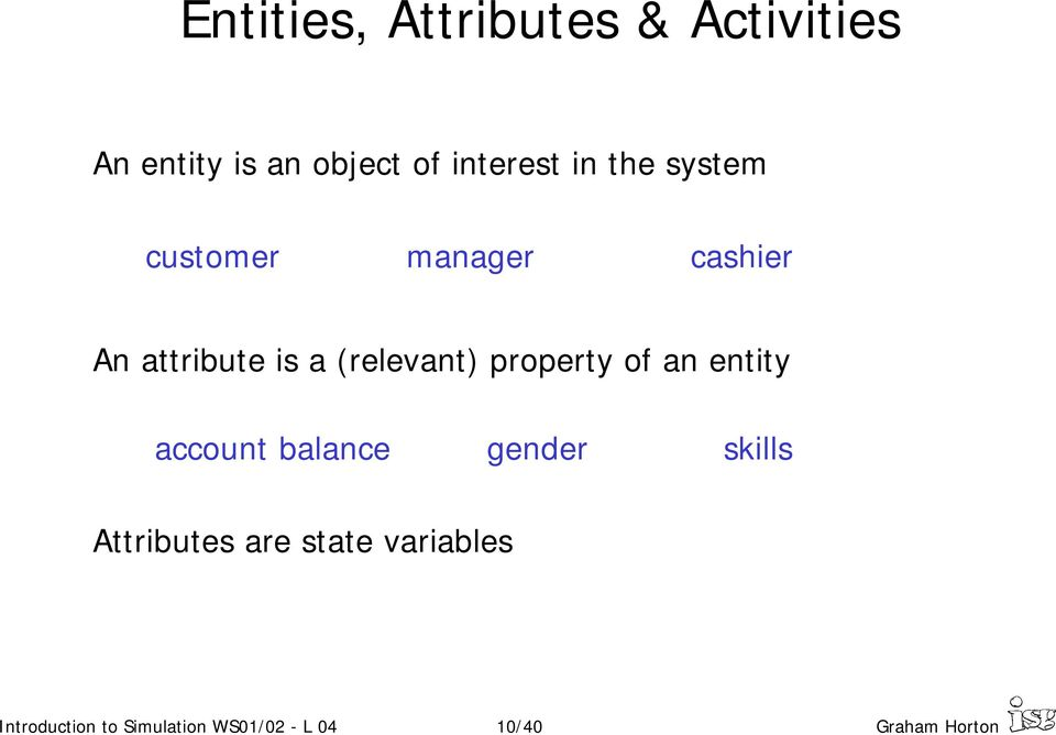 property of an entity account balance gender skills Attributes are