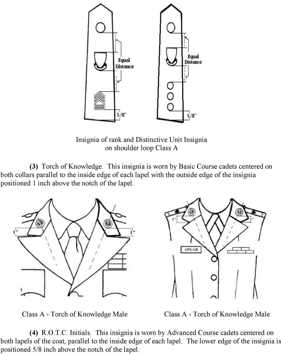 insignia positioned 1 inch above the notch of the lapel. Class A - Torch of Knowledge Male Class A - Torch of Knowledge Male (4) R.O.T.C. Initials.