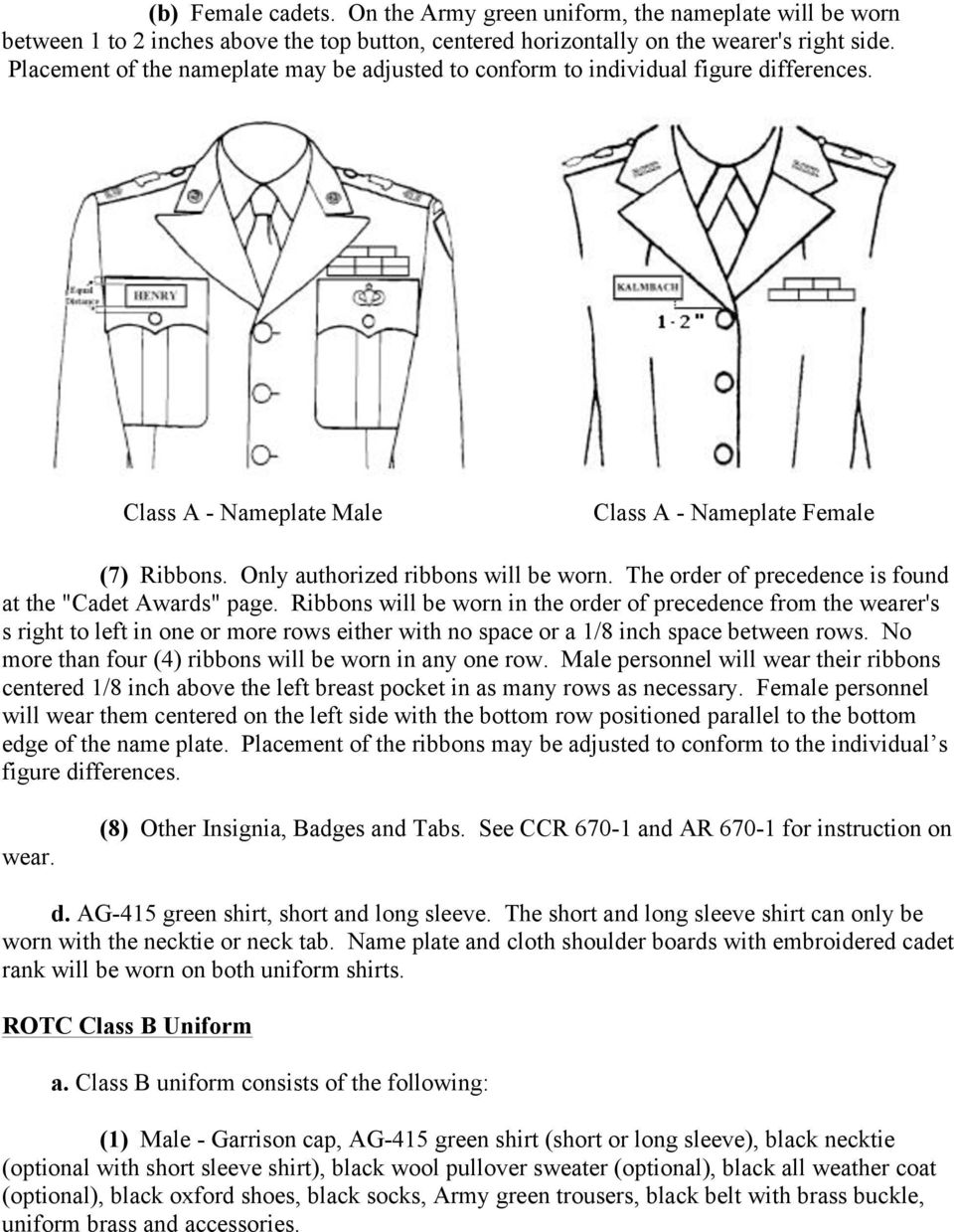 "The order of precedence is found at the ""Cadet Awards"" page."