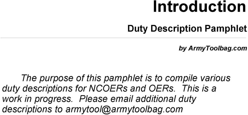 descriptions for NCOERs and OERs. This is a work in progress.