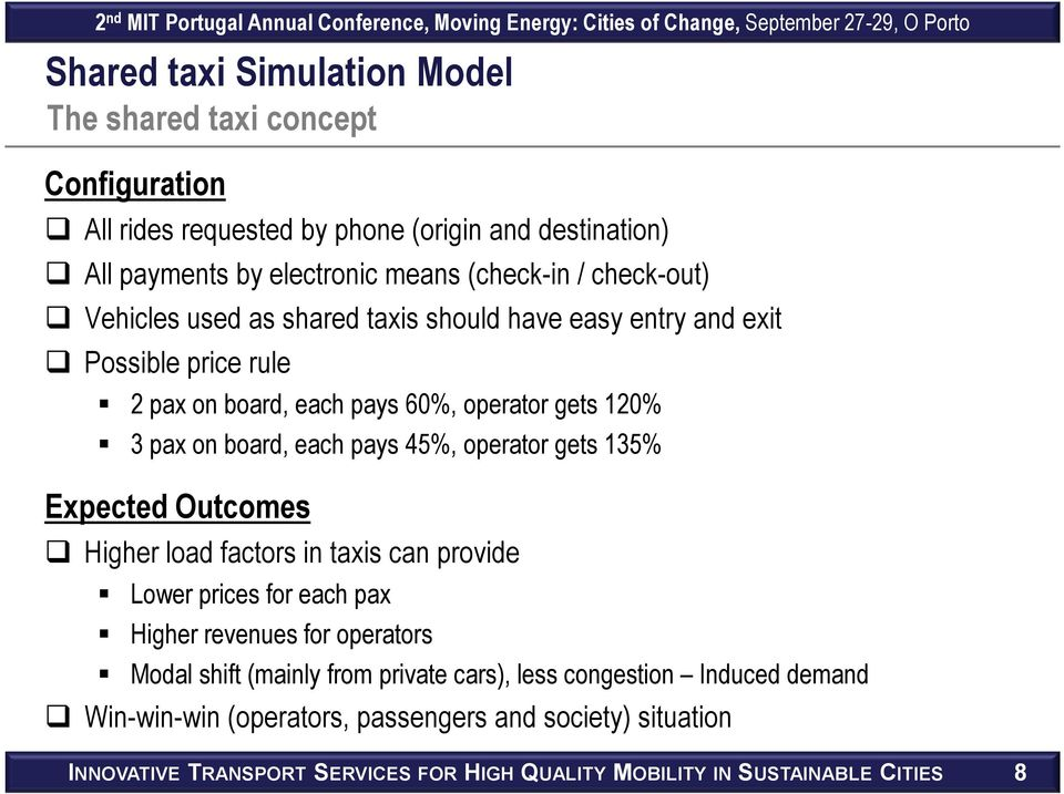 45%, operator gets 135% Expected Outcomes Higher load factors in taxis can provide Lower prices for each pax Higher revenues for operators Modal shift (mainly from