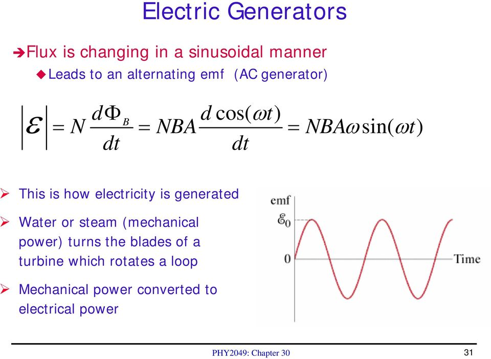 electricity is generated Water or steam (mechanical power) turns the blades of a