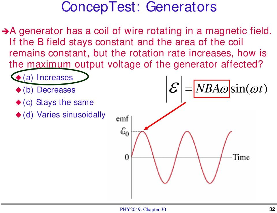 rate increases, how is the maximum output voltage of the generator affected?