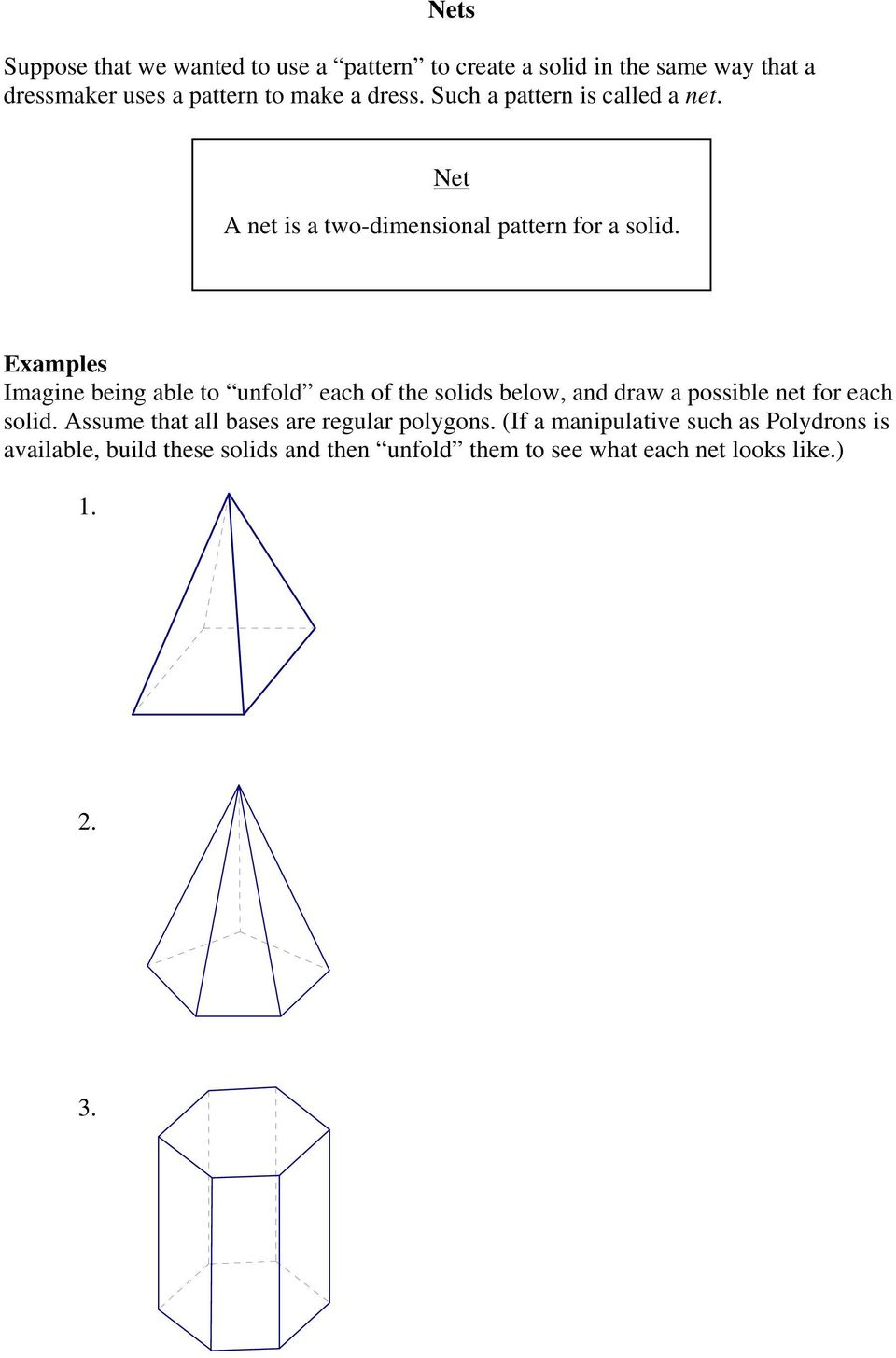 Examples Imagine being able to unfold each of the solids below, and draw a possible net for each solid.