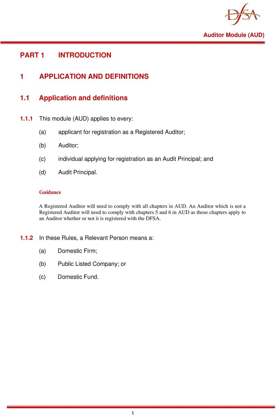 APPLICATION AND DEFINITIONS 1.