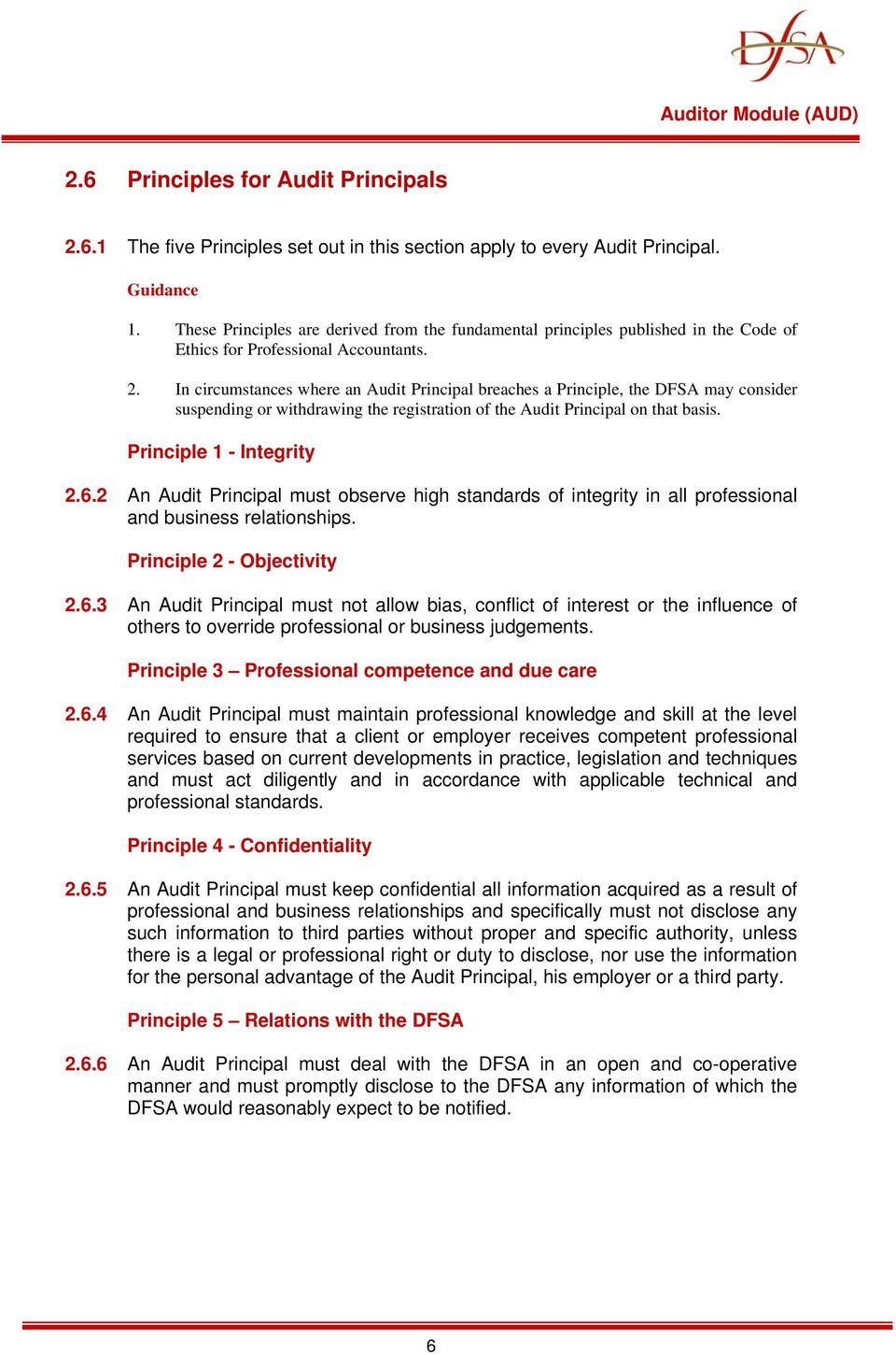 In circumstances where an Audit Principal breaches a Principle, the DFSA may consider suspending or withdrawing the registration of the Audit Principal on that basis. Principle 1 - Integrity 2.6.