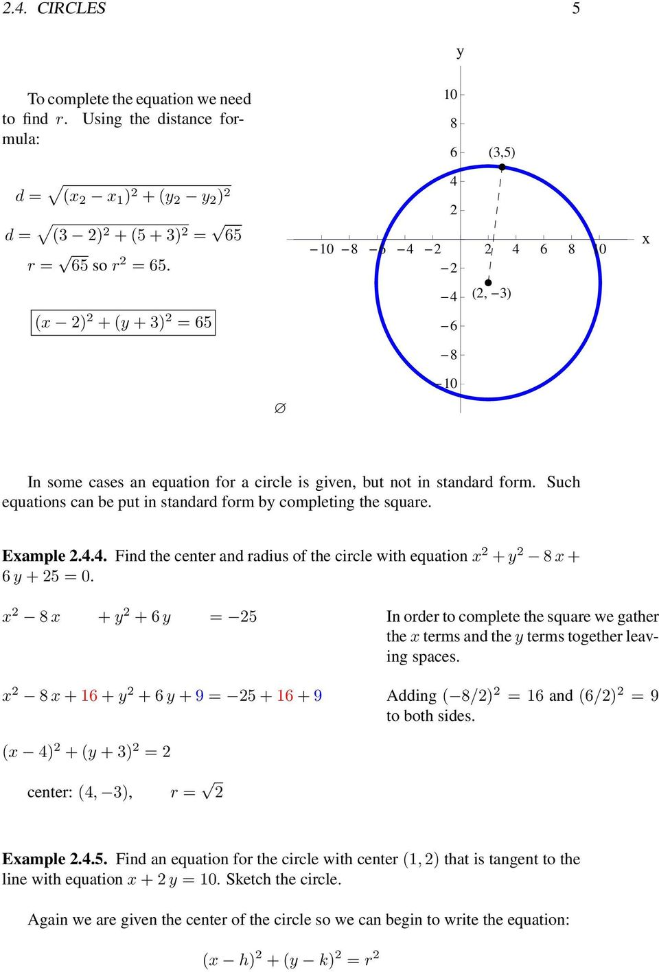 Example.4.4. Find the center and radius of the circle with equation x + y 8 x + 6 y + 5 = 0.