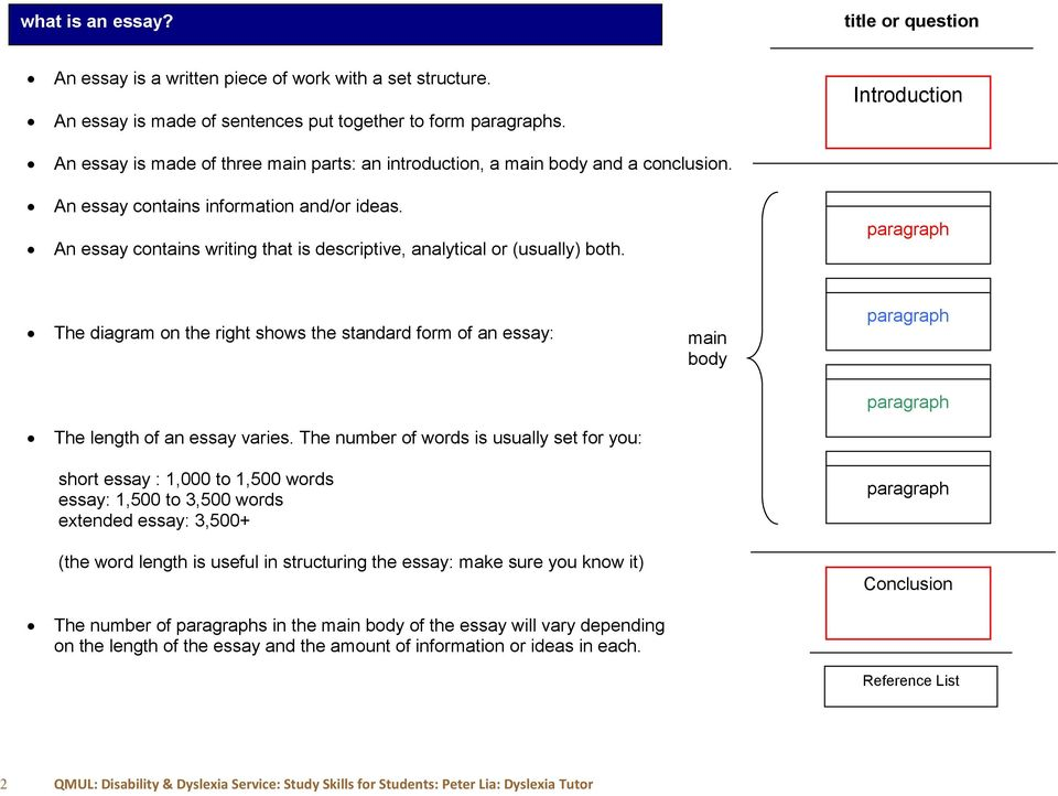An essay contains writing that is descriptive, analytical or (usually) both. paragraph The diagram on the right shows the standard form of an essay: The length of an essay varies.