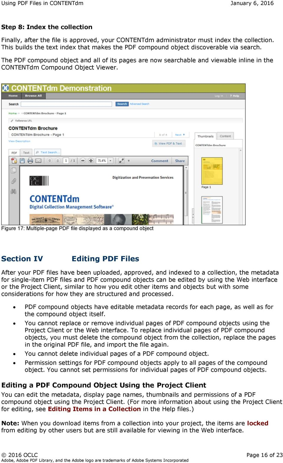 The PDF compound object and all of its pages are now searchable and viewable inline in the CONTENTdm Compound Object Viewer.