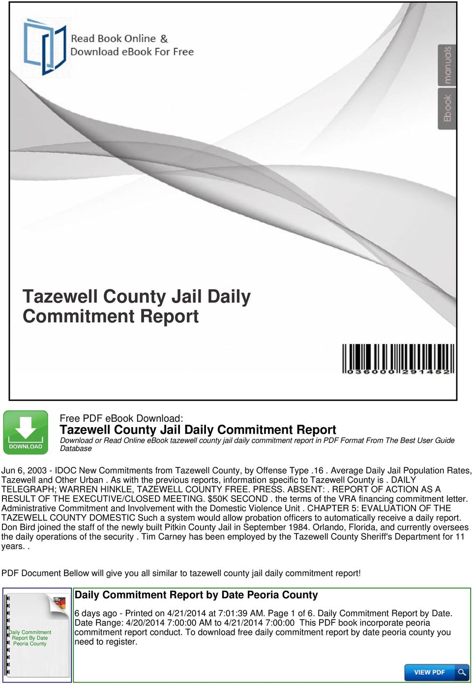 daily commitment report peoria county