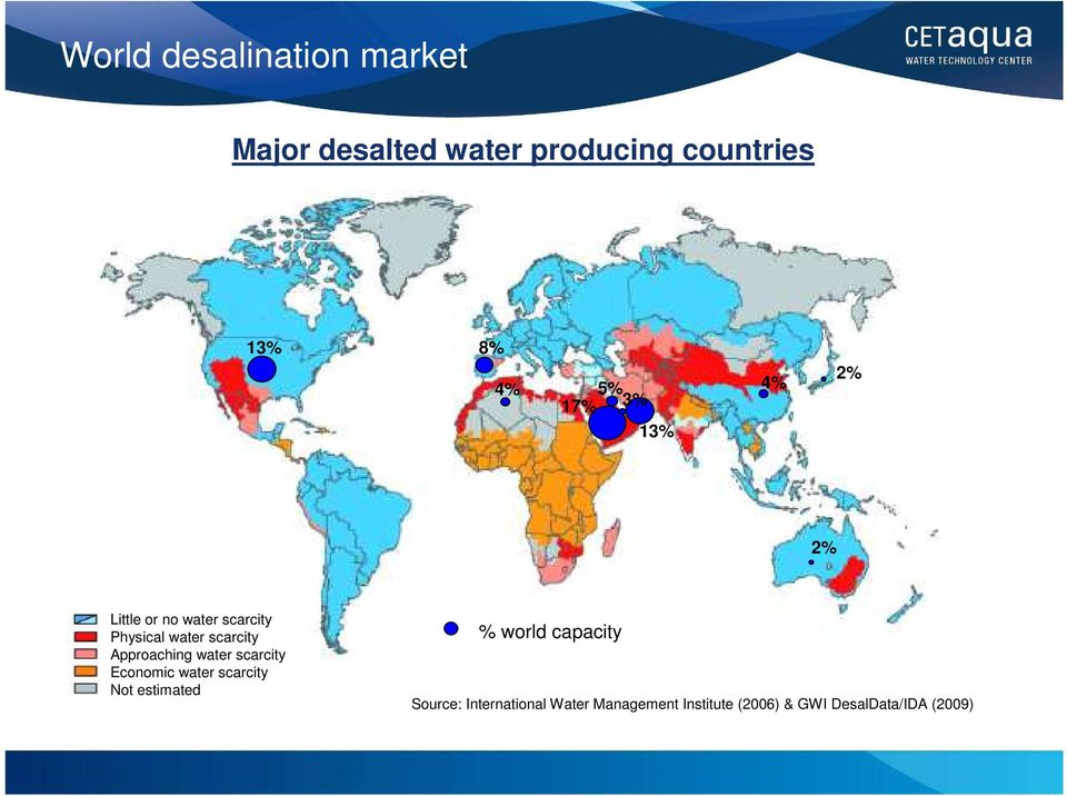 Approaching water scarcity Economic water scarcity Not estimated % world