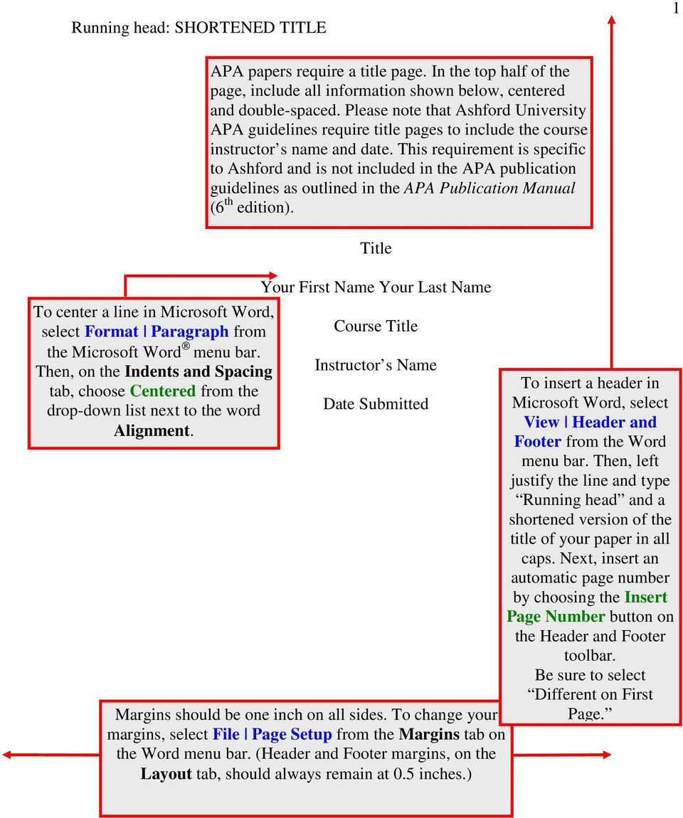 In the top half of the page, include all information shown below, centered and double-spaced.
