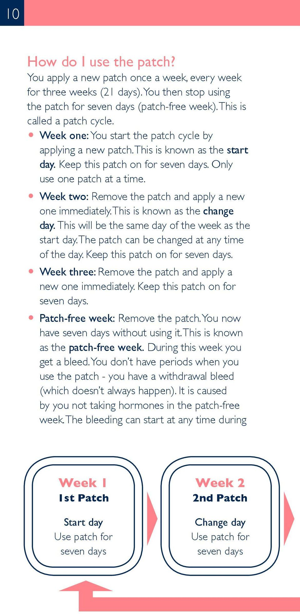 O Week two: Remove the patch and apply a new one immediately. This is known as the change day. This will be the same day of the week as the start day. The patch can be changed at any time of the day.