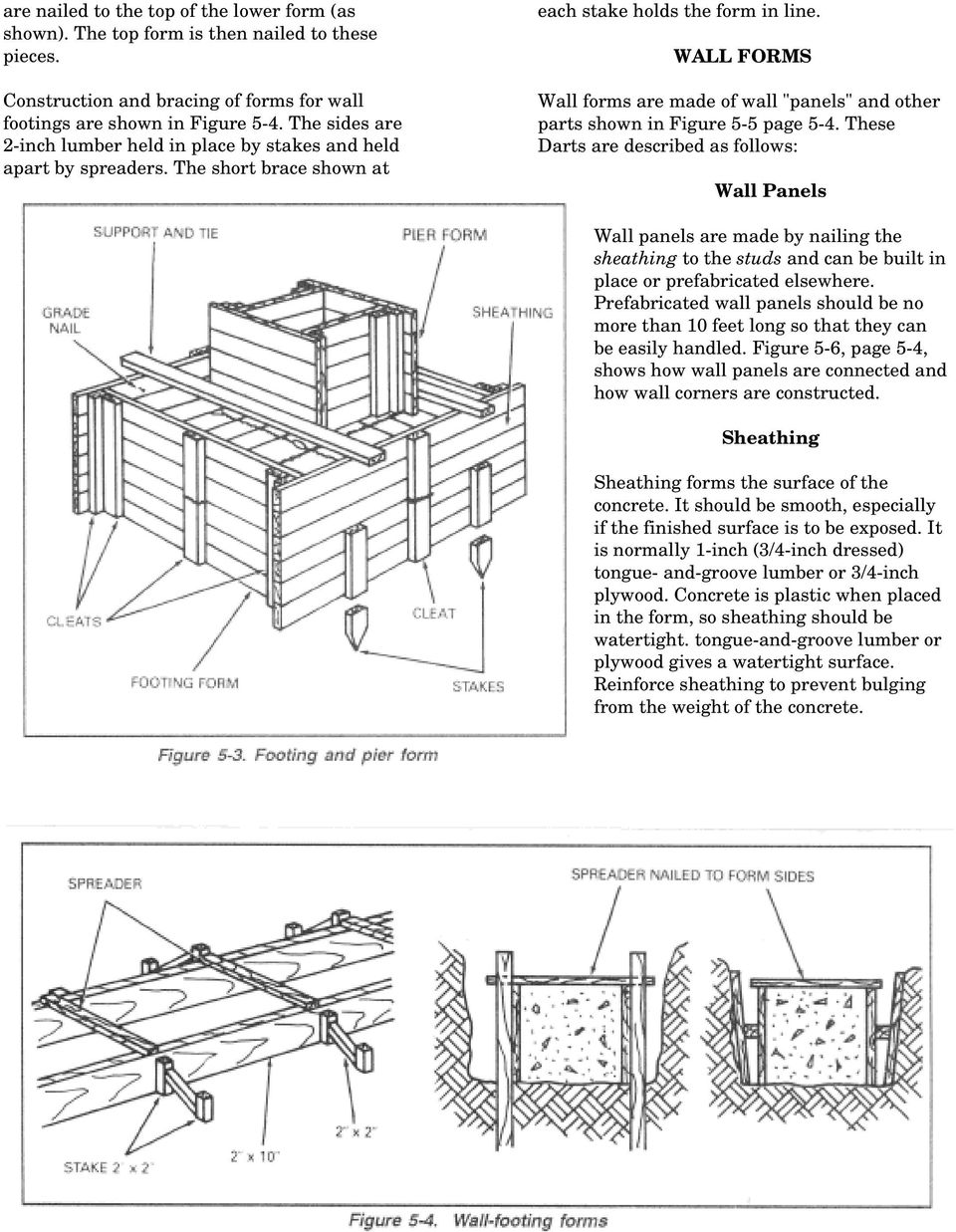 "WALL FORMS Wall forms are made of wall ""panels"" and other parts shown in Figure 5-5 page 5-4."