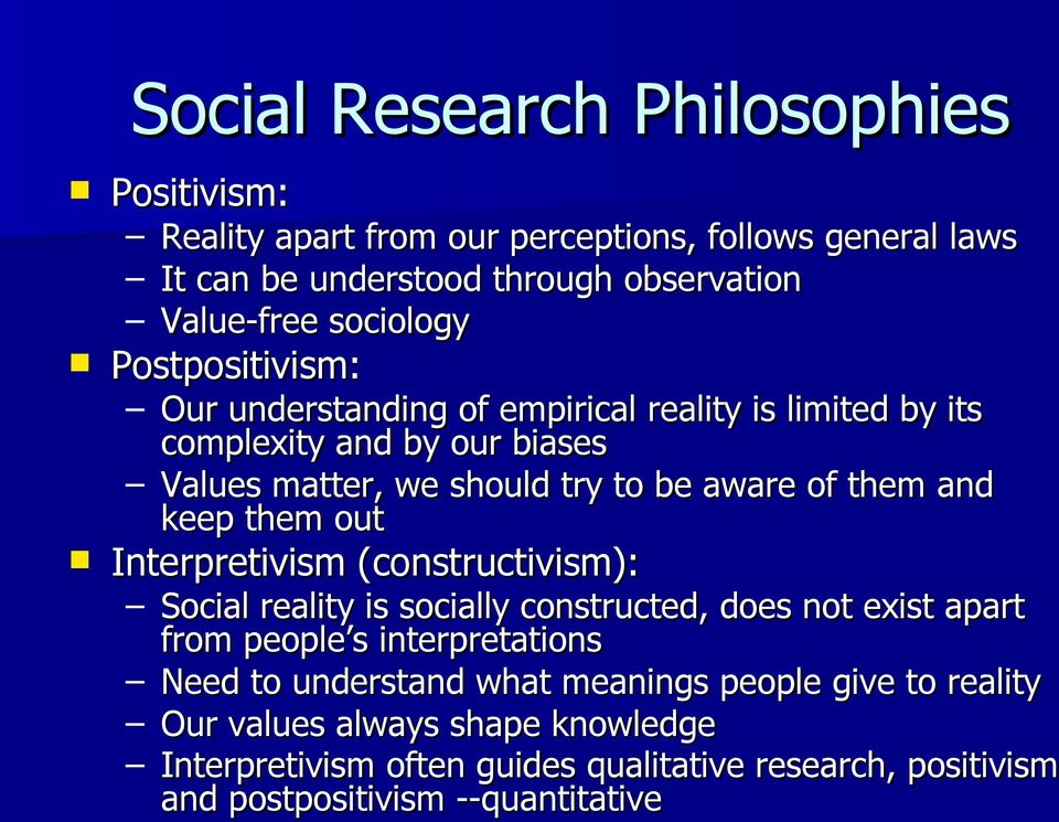 them out Interpretivism (constructivism): Social reality is socially constructed, does not exist apart from people s interpretations Need to understand what