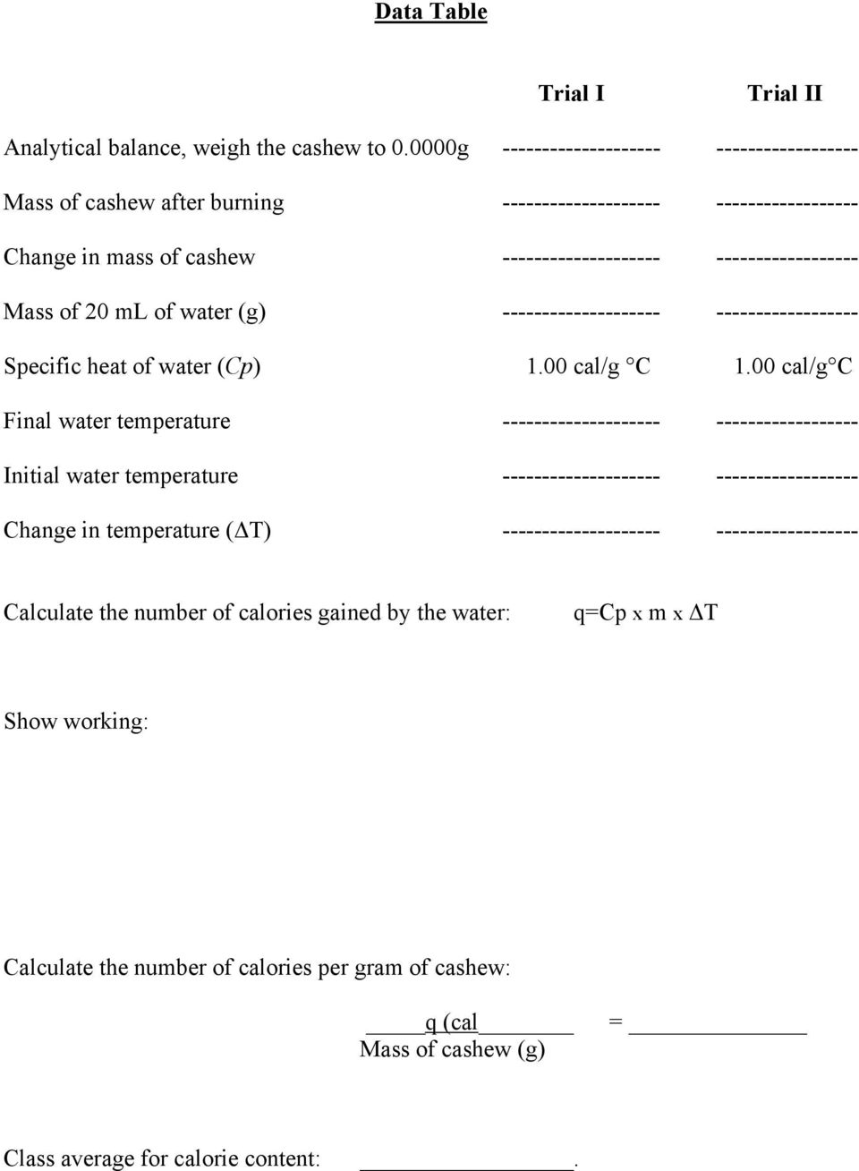 ml of water (g) -------------------- ------------------ Specific heat of water (Cp) 1.00 cal/g C 1.