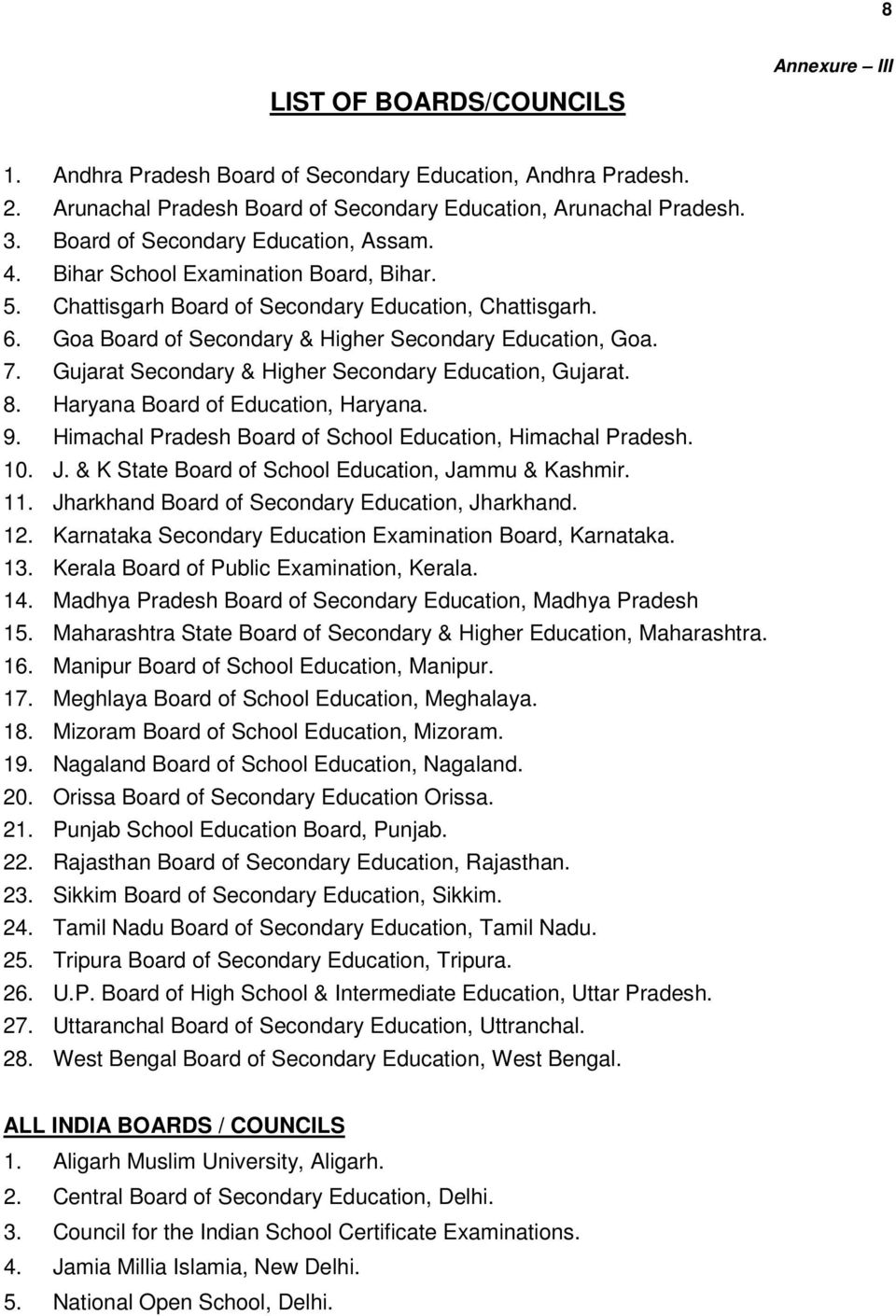 Gujarat Secondary & Higher Secondary Education, Gujarat. 8. Haryana Board of Education, Haryana. 9. Himachal Pradesh Board of School Education, Himachal Pradesh. 10. J.
