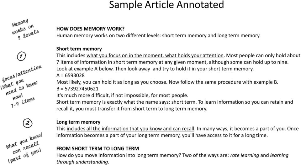 Most people can only hold about 7 items of information in short term memory at any given moment, although some can hold up to nine. Look at example A below.