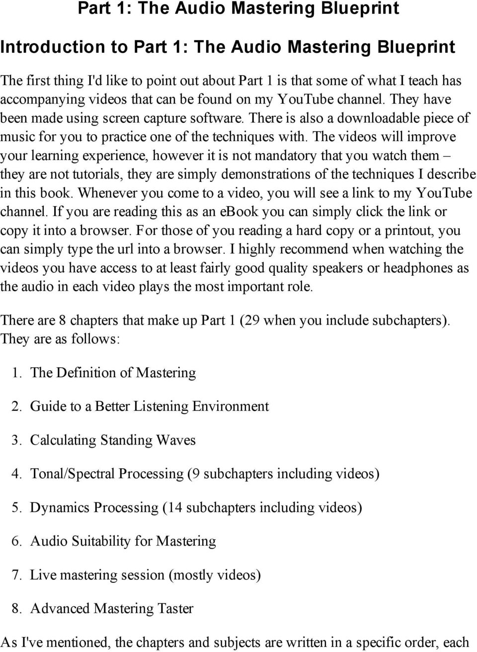The audio mastering blueprint pdf the videos will improve your learning experience however it is not mandatory that you watch malvernweather Choice Image