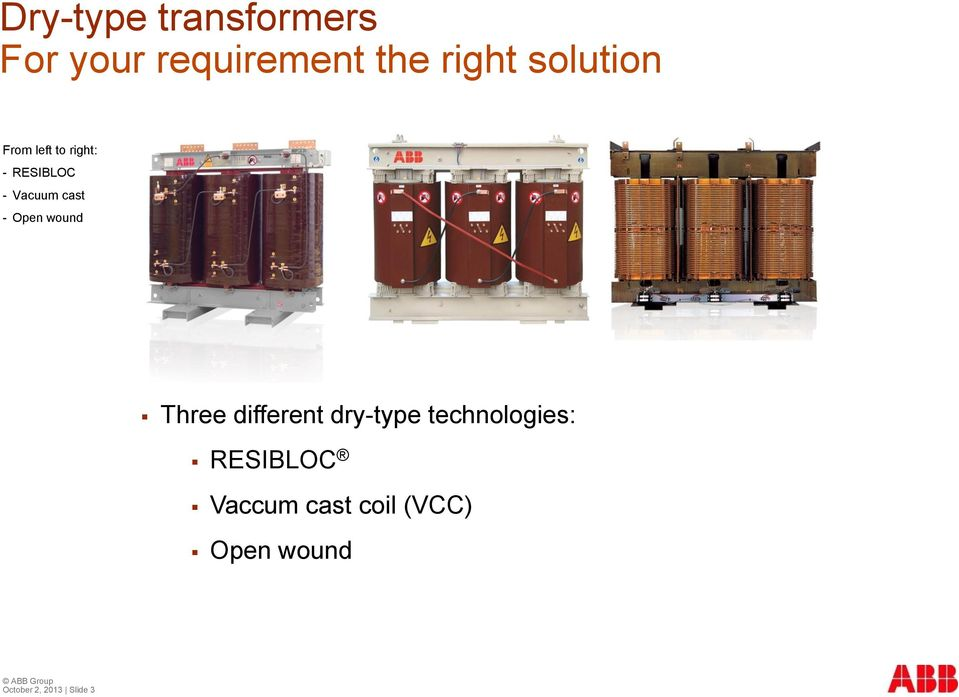 Open wound Three different dry-type technologies: