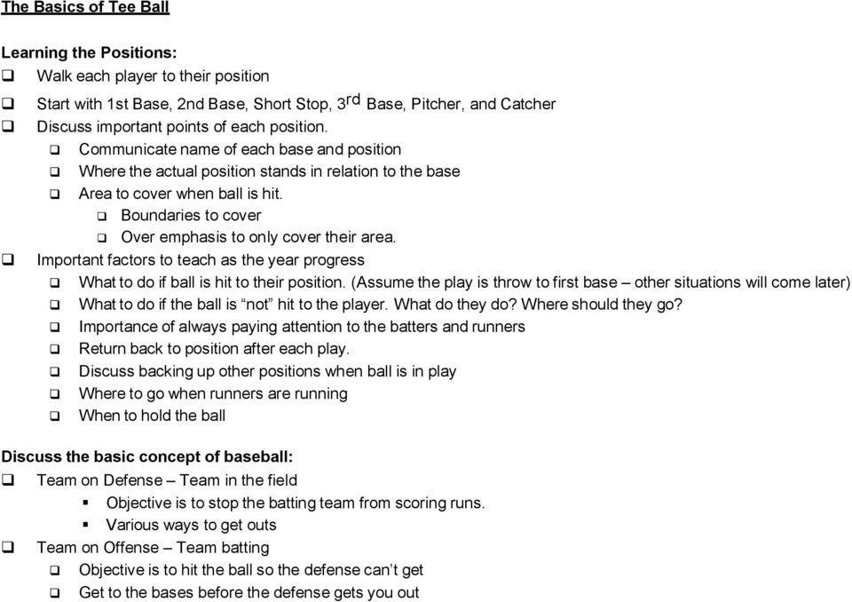 Important factors to teach as the year progress What to do if ball is hit to their position.