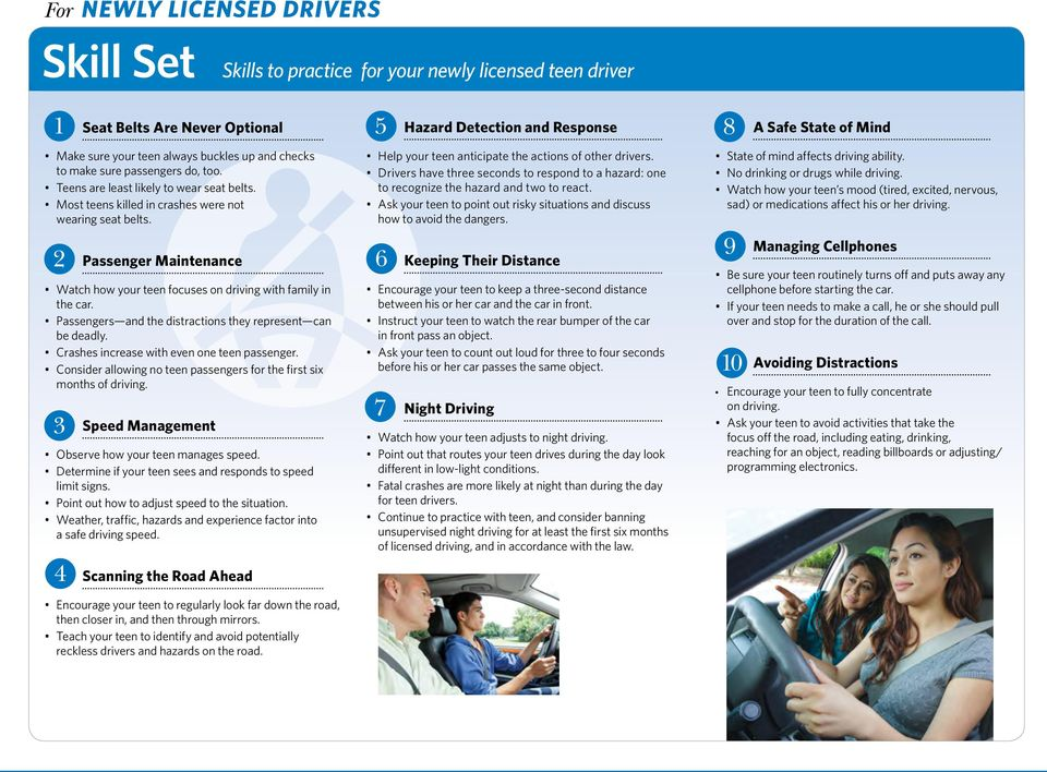 Passenger Maintenance Watch how your teen focuses on driving with family in the car. Passengers and the distractions they represent can be deadly. Crashes increase with even one teen passenger.