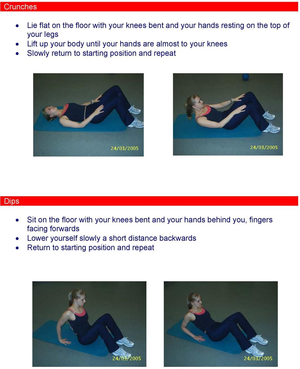 position and repeat Dips Sit on the floor with your knees bent and your hands behind you,