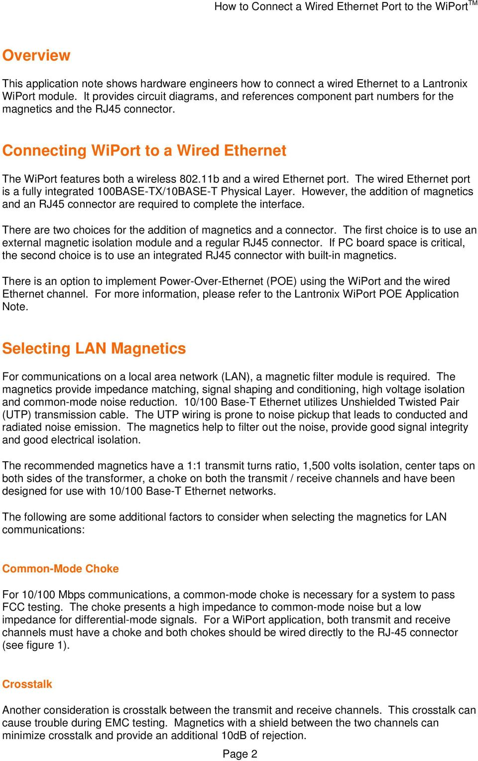 Application Note: How to Connect a Wired Ethernet Port to the WiPort ...