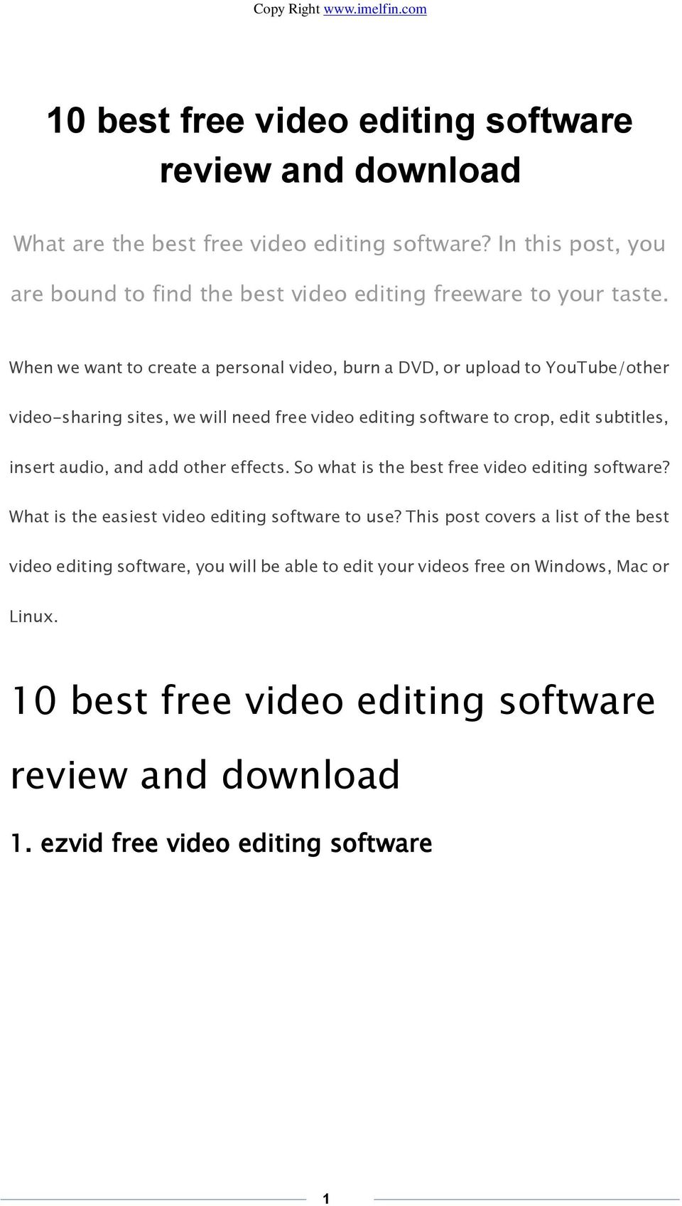 Best video making and editing software