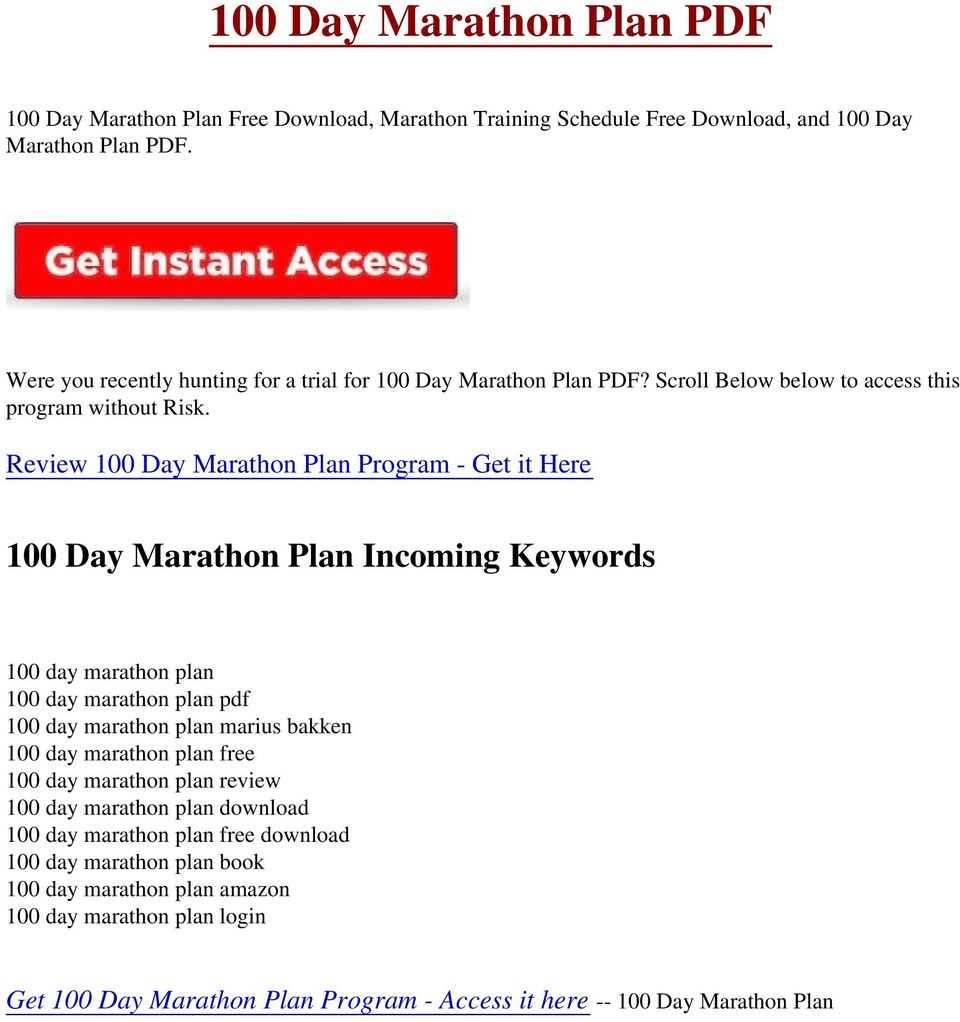 100 day marathon plan marius bakken free download