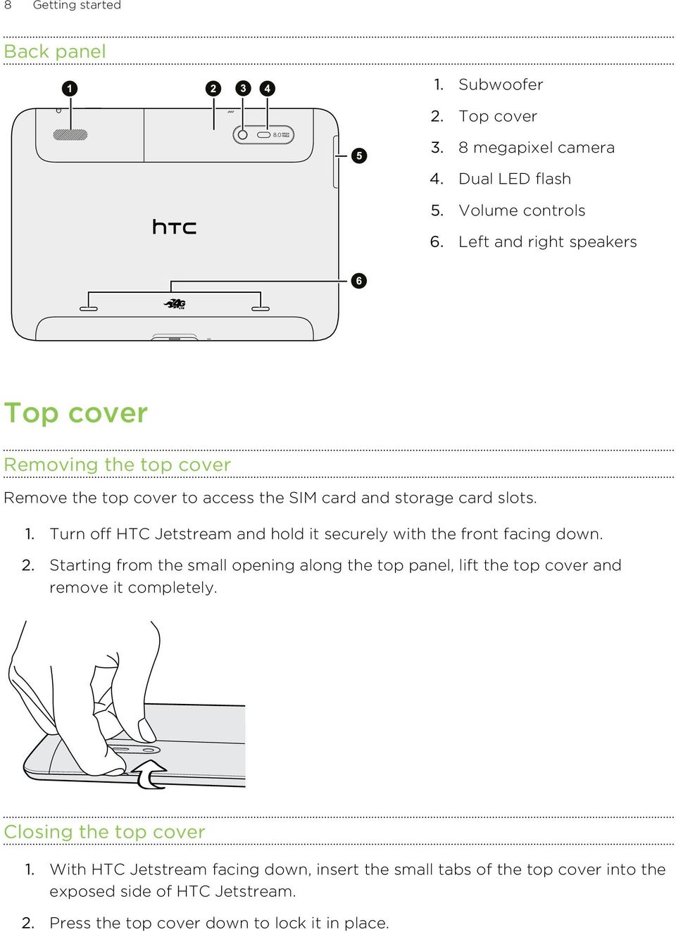 Turn off HTC Jetstream and hold it securely with the front facing down. 2.