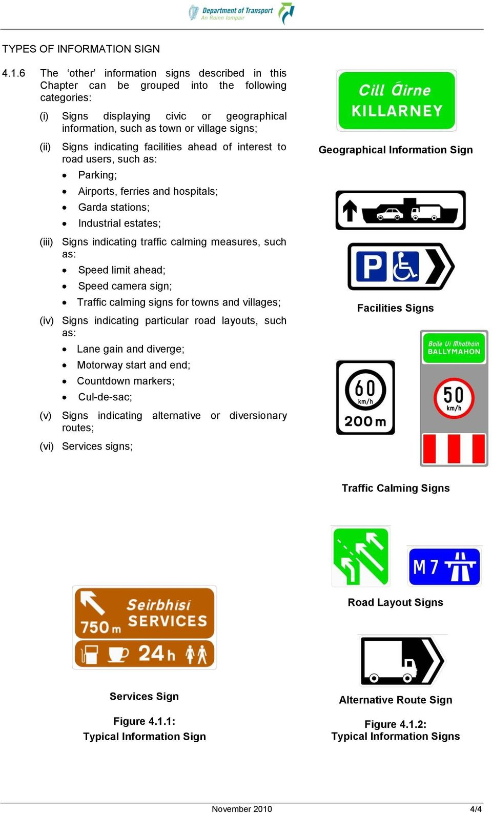 indicating facilities ahead of interest to road users, such as: Parking; Airports, ferries and hospitals; Garda stations; Industrial estates; (iii) Signs indicating traffic calming measures, such as: