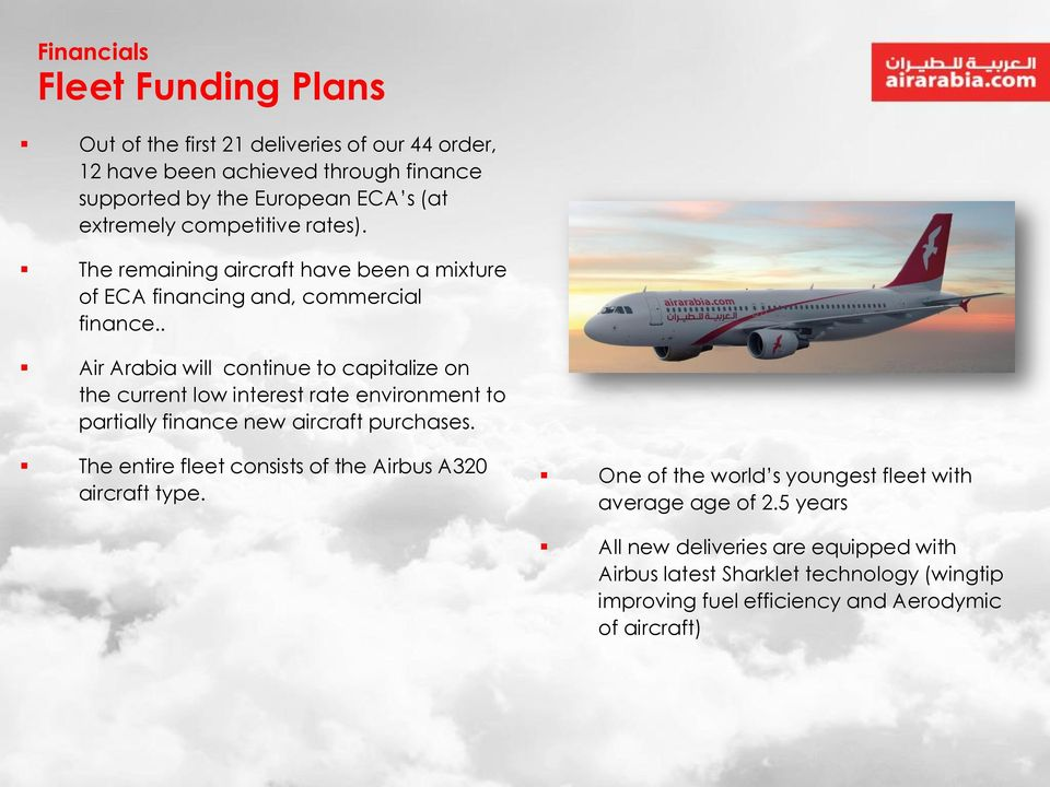. Air Arabia will continue to capitalize on the current low interest rate environment to partially finance new aircraft purchases.