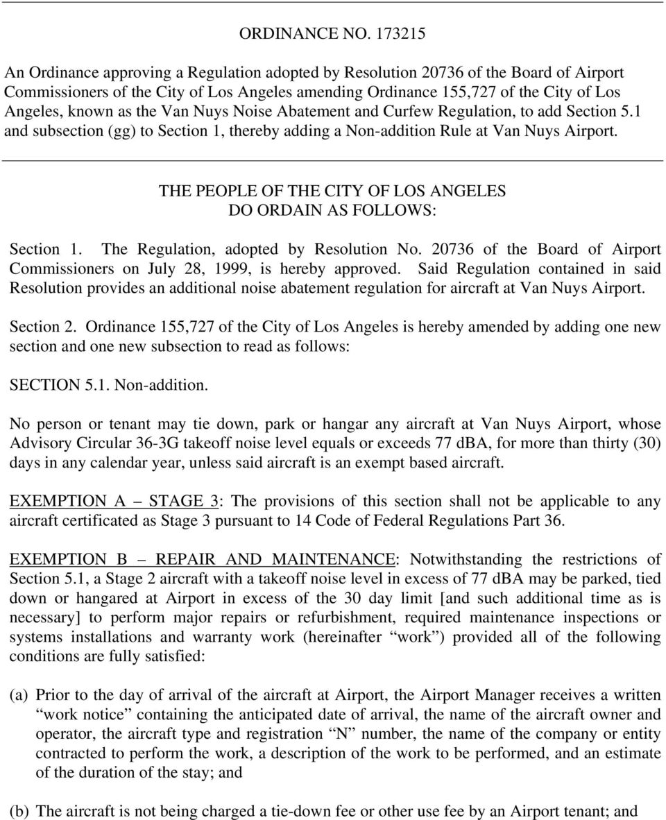 the Van Nuys Noise Abatement and Curfew Regulation, to add Section 5.1 and subsection (gg) to Section 1, thereby adding a Non-addition Rule at Van Nuys Airport.