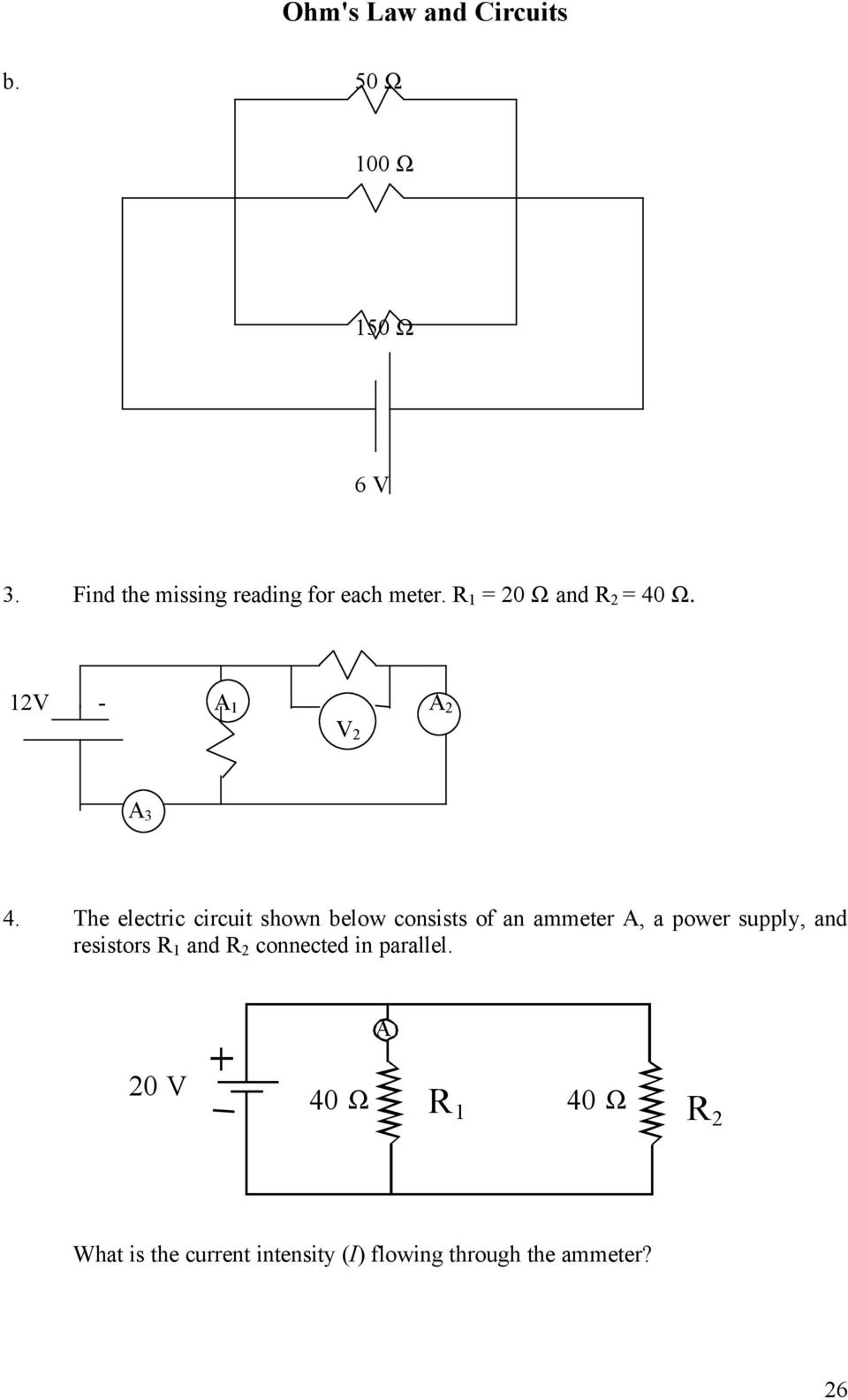 The electric circuit shown below consists of an ammeter A, a power supply, and